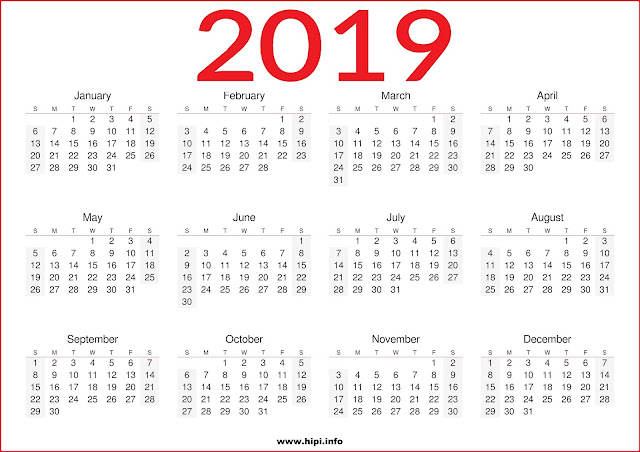 2019 printable one page calendar