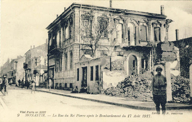 Bitola, August 17, 1917 Dear friend! I send you this postcard from Monastir (Bitola) after the bombing of Bulgarians. Many houses are destroyed like the ones on the picture and many residents left the city to seek refuge in the surrounding villages south of the city. Greeting Pierre.