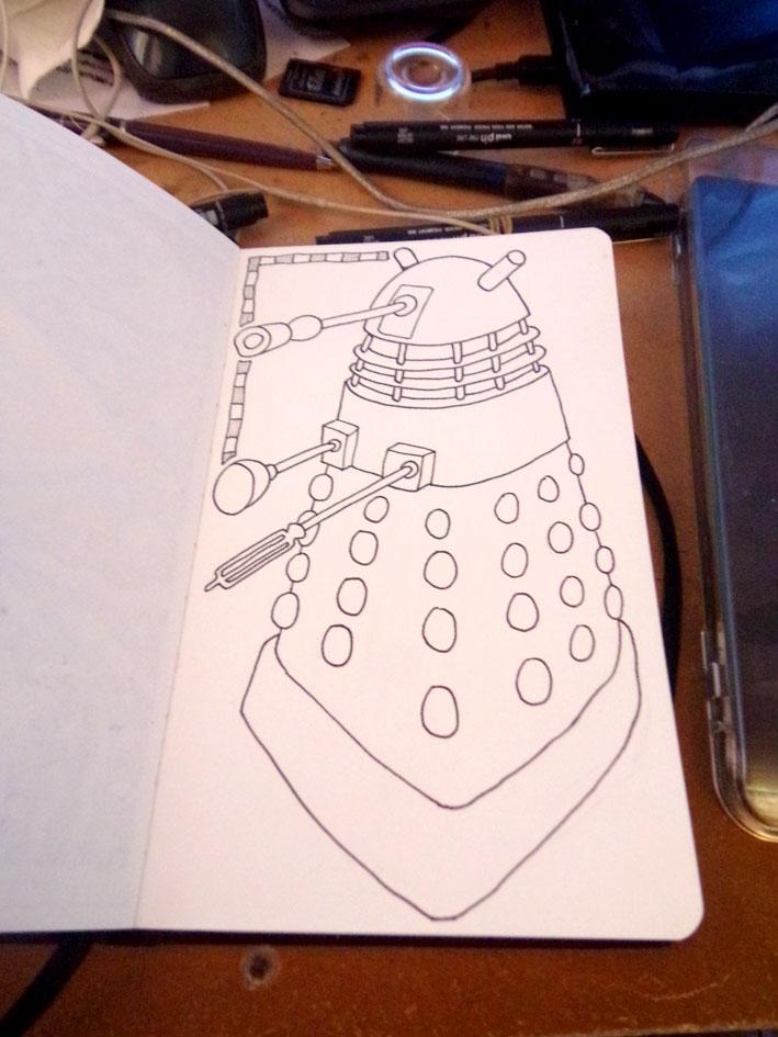 Worksheet. Ilustrador Alexiev Gandman Paso a paso para dibujar el Robot Dalek
