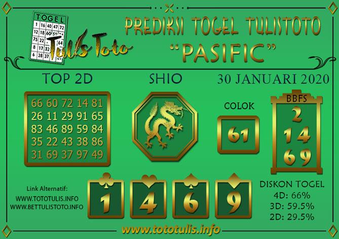 Prediksi Togel PASIFIC TULISTOTO 30 JANUARI 2020