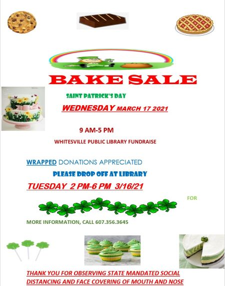 3-17 St. Patricks Day Bake Sale Bake Sale At The Whitesville Library