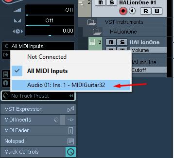 Setting Input Midi