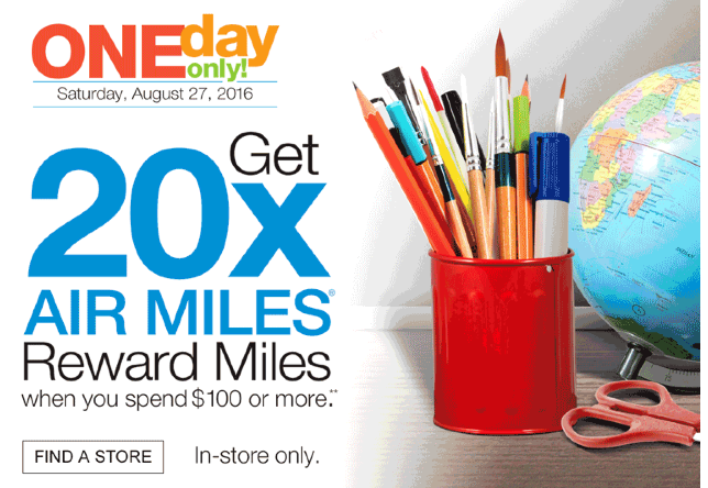 875c6ff1110 Just in time for back to school shopping, you can earn 20x AIR MILES Reward  Miles for shopping at Staples this Saturday. The one day offer is only good  for ...
