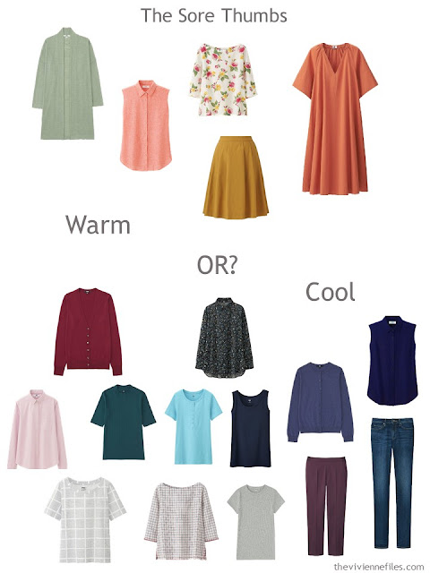 Warm and Cool accent colors in a wardrobe - which to keep?