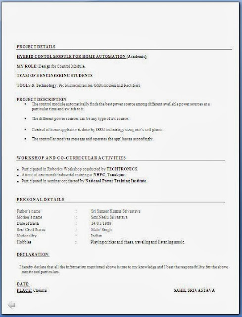 Resume For Freshers Computer Engineers - Engineering Resume Format For Freshers