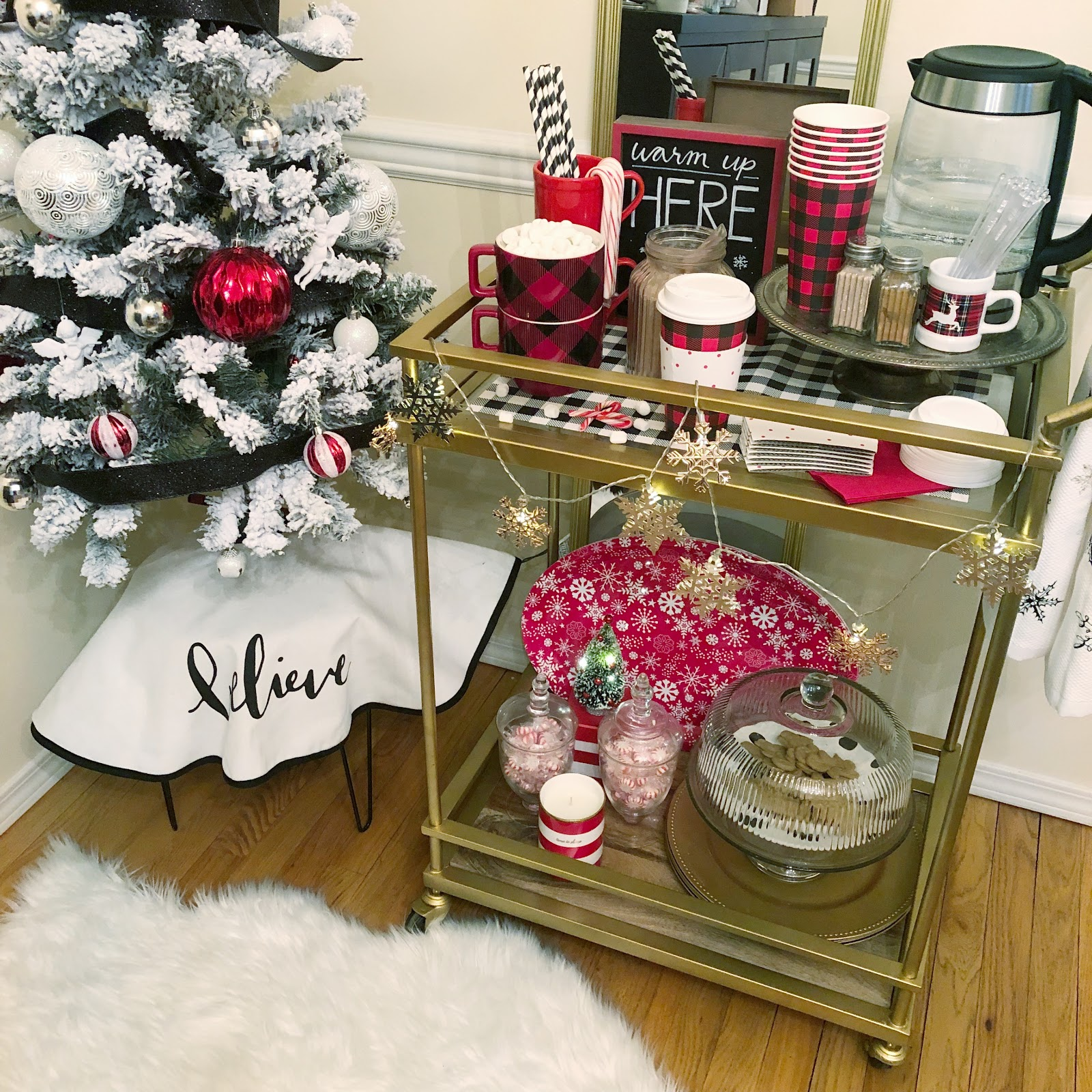 how to set up a hot cocoa bar cart
