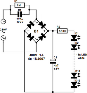mains powered white led lamp circuit diagram