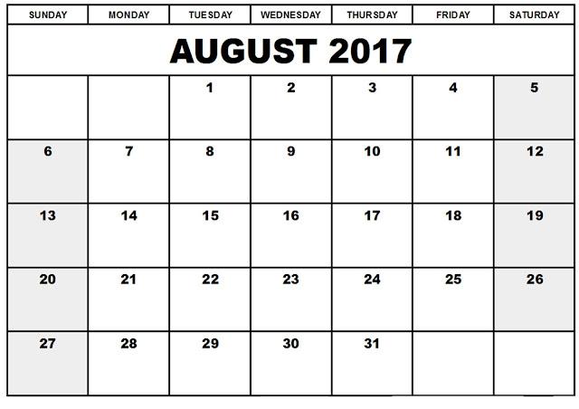 August 2017 Calendar, August Calendar 2017, August 2017 Printable calendar, August 2017 calendar printable, August 2017 Blank Calendar, August 2017 Calendar with Holidays