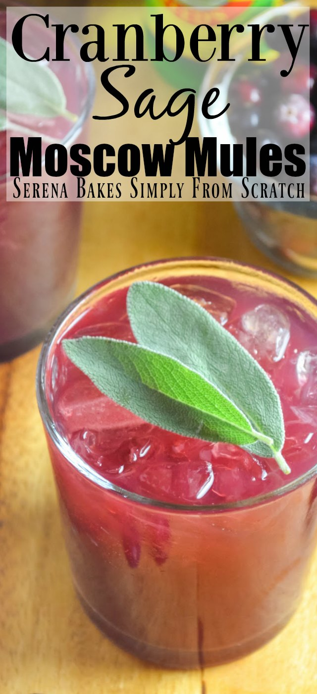 Cranberry Sage Moscow Mules are a gorgeous cocktail fun for Thanksgiving and Christmas.