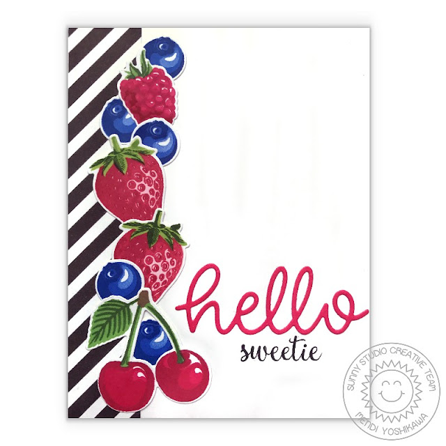Sunny Studio: Berry Bliss Color Layering Strawberry, Cherry, Blueberry & Raspberry Card with B&W Stripes using Background Basics stamps