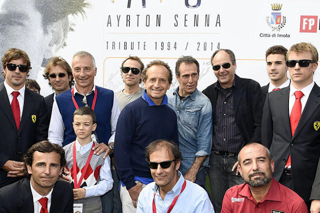 Tributo a Ayrton Senna en Imola Gerhard Berger, Fernando Alonso, Kimi Raikkonen, Jules Bianchi, Pedro de la Rosa