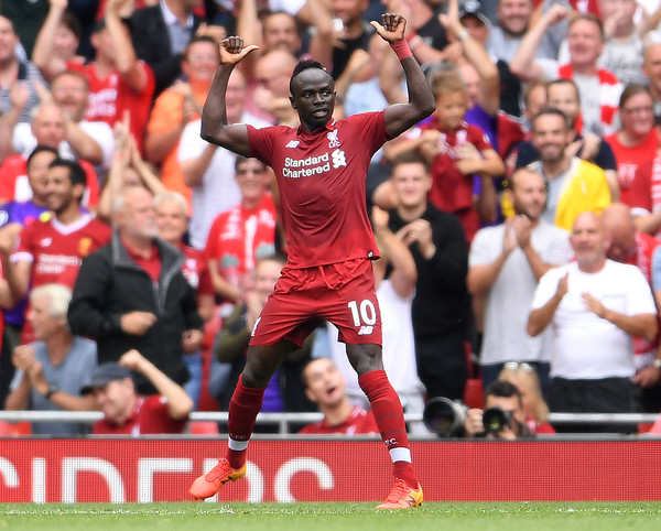Liverpool forward Sadio Mane celebrates scoring against West Ham in the Premier League 2018/19 season