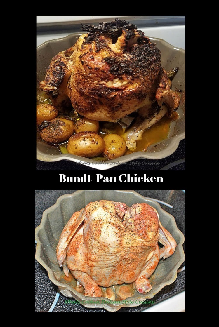 Roasted Chicken cooked in a bundt pan with roasted vegetables potatoes, carrots broccoli seasoned with peppers, garlic, salt, all in a bundt pan cripsy chicken baked