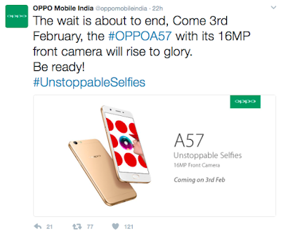 Oppo to launch A57 smartphone with 16 MP front camera in India on 3rd February