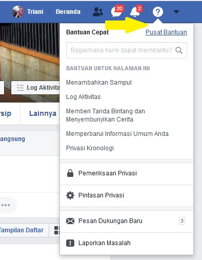 Pusat bantuan Facebook
