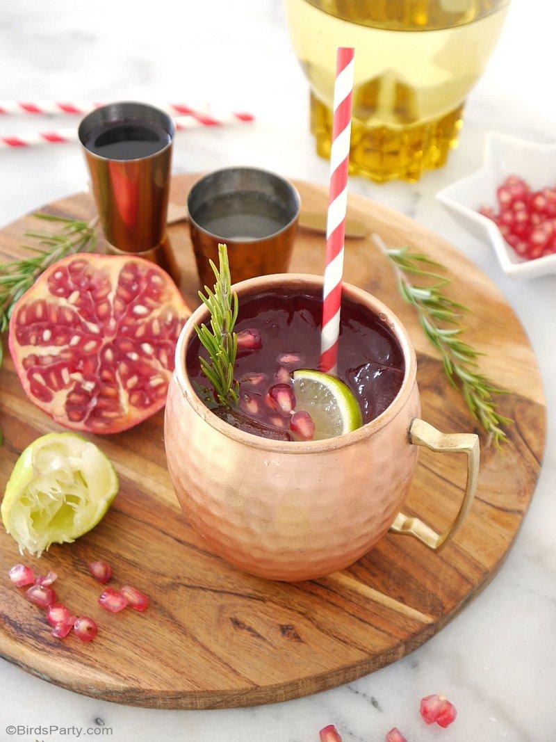 Recette Cocktail Moscow Mule à la Grenade - un recette facile te rapide et délicieuse pour les apéros de Noel et de fin d'année! by BirdsParty.fr @birdsparty #cocktail #moscowmule #recettes #apero #recettenoel #aperonoel