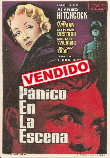 Programa de Cine - Pánico en la Escena - Marlene Dietrich - Michael Wilding - Jane Wyman