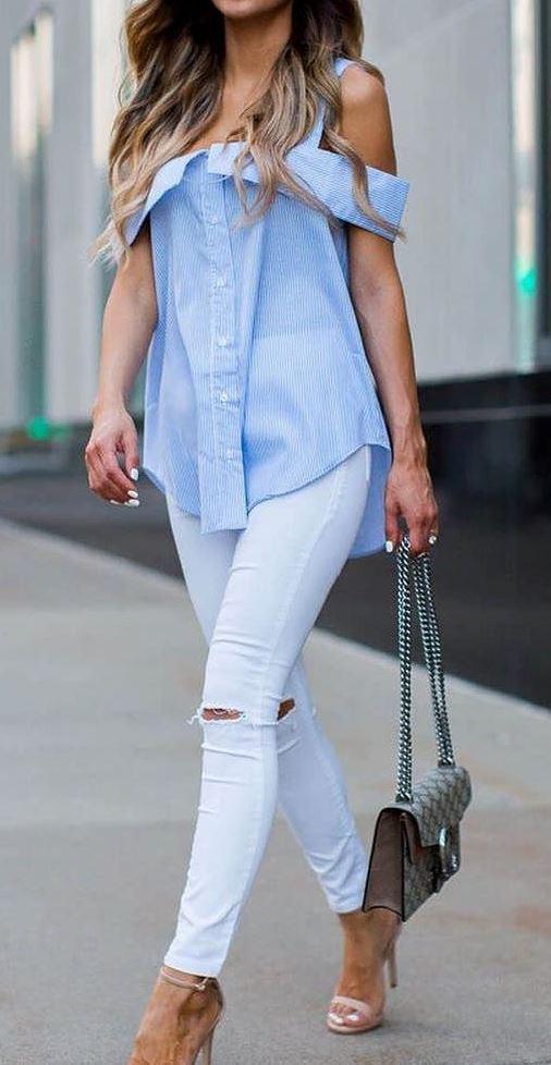 2017 fashion trends: shirt + heels + rips + bag