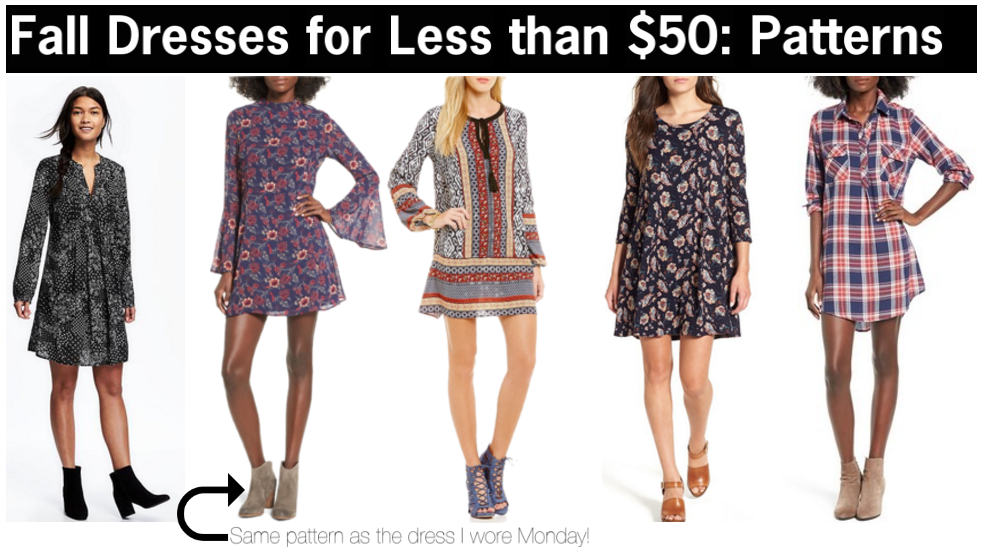 cute patterned dress for fall that are less than $50 | long sleeve patterned dresses for fall | cute fall dresses for less than $50 | a memory of us