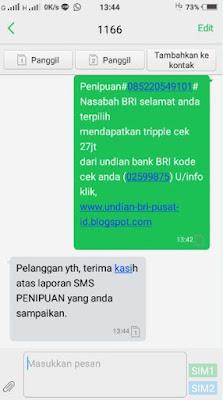 melaporkan sms penipuan