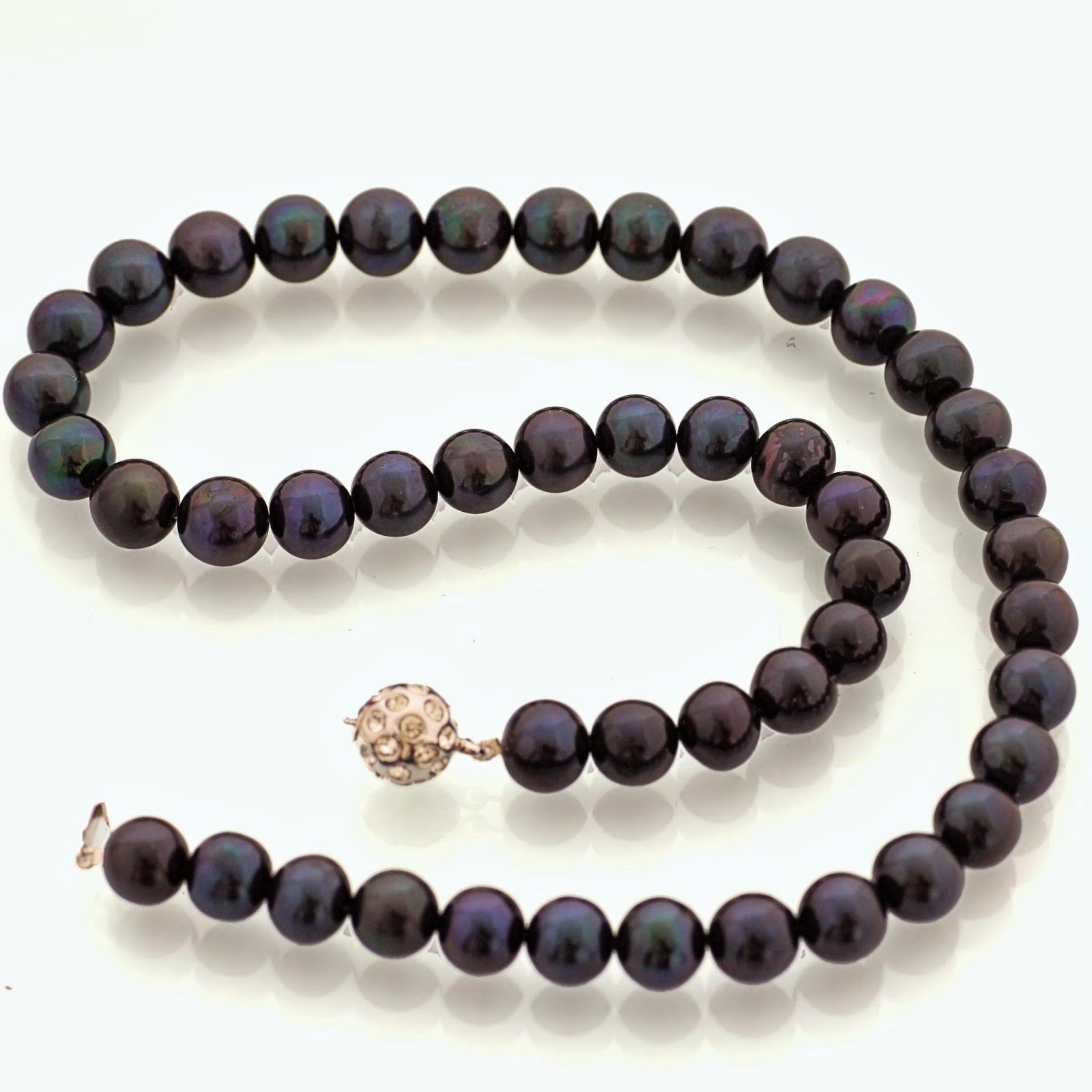 Zuchtperlenkette schwarz große Perlen