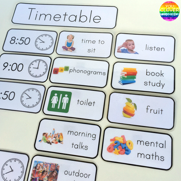 Editable Classroom Visual Timetable Cards | you clever monkey