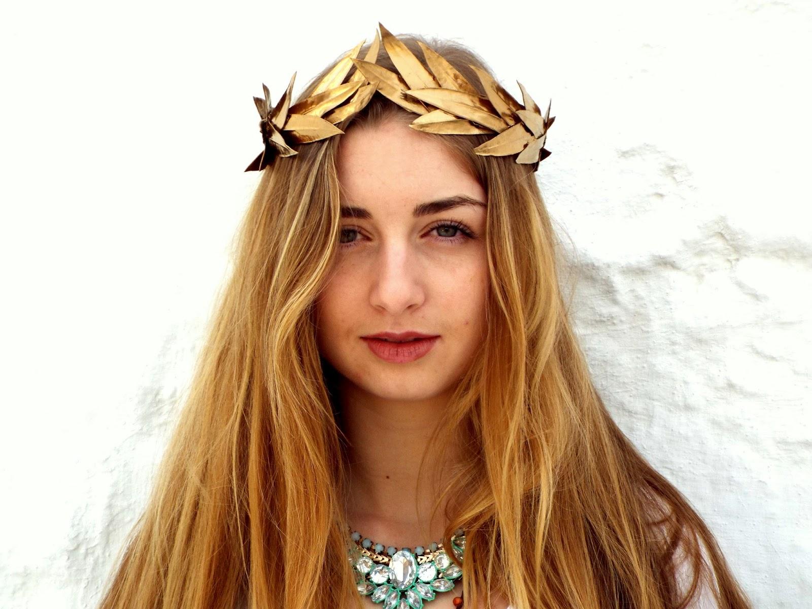 Gold leaf crown gold headband golden leaves headpiece greek gold leaf crown gold headband golden leaves headpiece greek goddess flower crown woodland hair wreath holiday izmirmasajfo