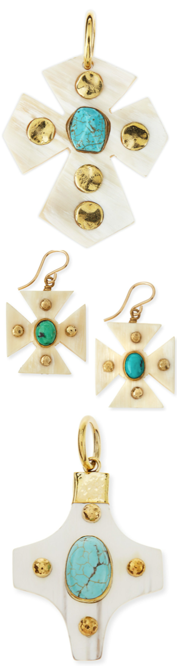 ASHLEY PITTMAN PENDANTS WITH TURQUOISE AND EARRINGS