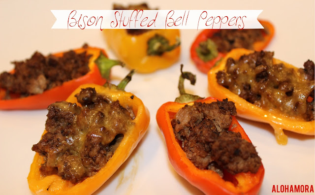 Bison or Beef Stuffed Mini Bell Peppers.  Easy Elimination Diet friendly recipe for a healthy appetizer or dinner.  Alohamora Open a Book http://alohamoraopenabook.blogspot.com/ healthy, diet friendly, egg free, dairy free, gluten free, soy free, nut free, corn free, elimination diet
