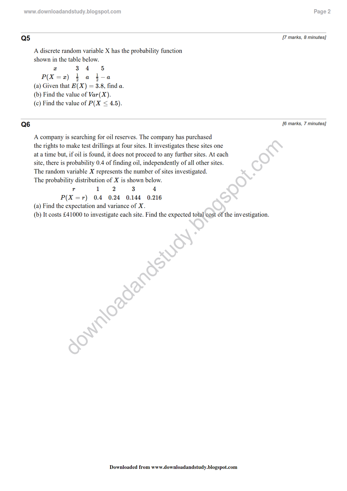 Download Amp Study As Statistics Probability Distribution Revision Test Worksheet Solved