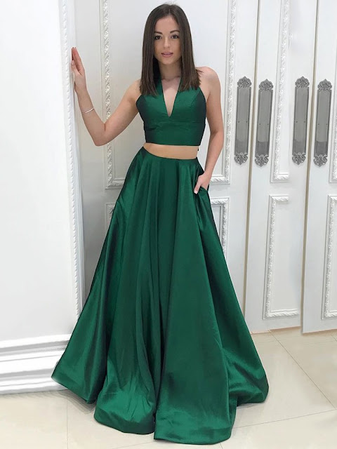 Princess V-neck Satin Floor-length Pockets Prom Dresses