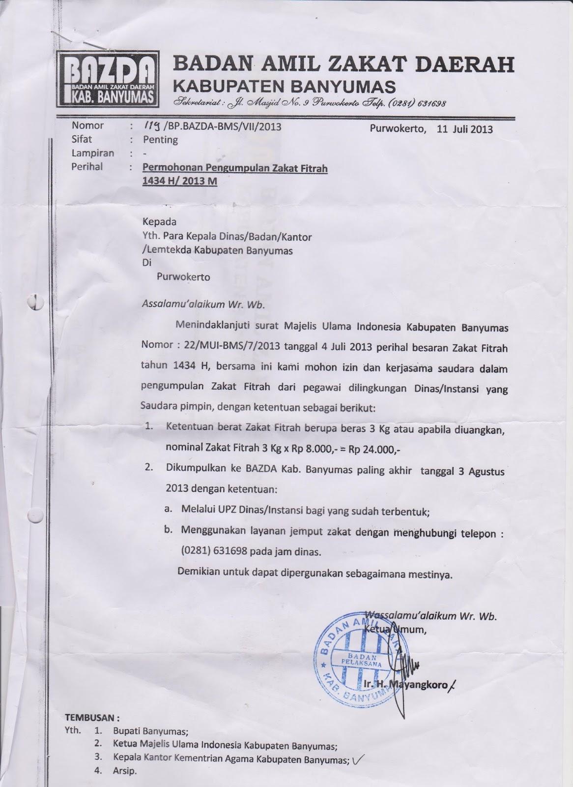 Surat Permohonan Zakat Fitrah Suratmenuhargacom