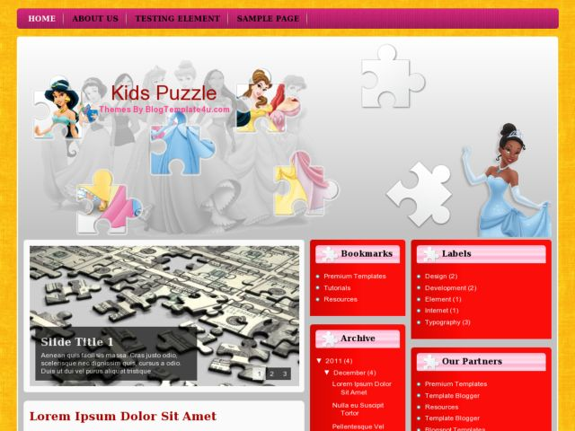 Kids Puzzle Blogger Template