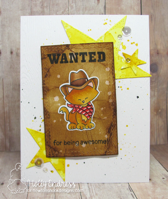 Wanted Cowboy cat card by Holly Endress | Newton Rides West | Cat Cowboy Western Stamp Set by Newton's Nook Designs #newtonsnook