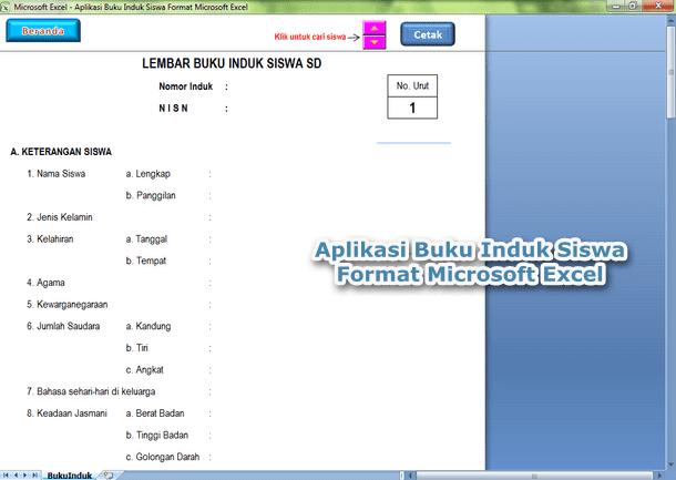 Aplikasi Buku Induk Siswa Format Microsoft Excel
