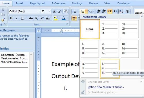 Create Numbered List in Microsoft Word