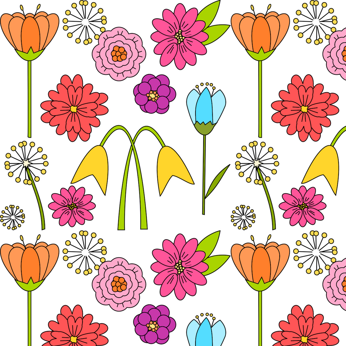 digital spring flower paper