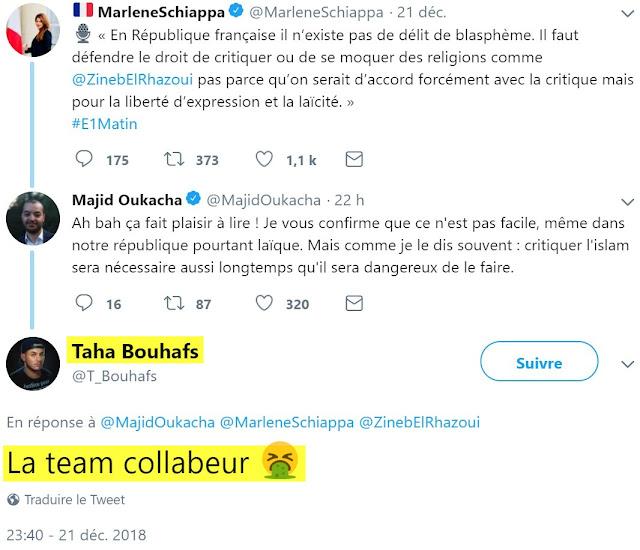 """Taha Bouhafs est un ultra identitaire à l'insulte raciste facile. Membre actif de la France Insoumise, il est une des figures qui font la jonction entre les islamistes, les ultras identitaires """"Arabes"""" (dont il fait parti), les """"décoloniaux"""" et une partie de l'extrême gauche."""
