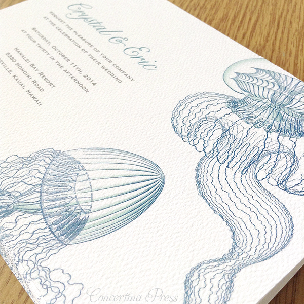 Haeckel jellyfish wedding invitations by Concertina Press