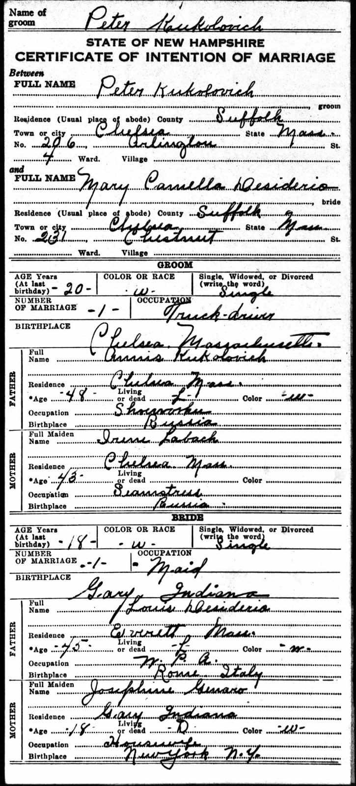 Porter countys past an amateur historians perspective murder certificate of intention of marriage issued for peter kukolovich and mary carmella desiderio 1939 source new hampshire bureau of vital records aiddatafo Gallery