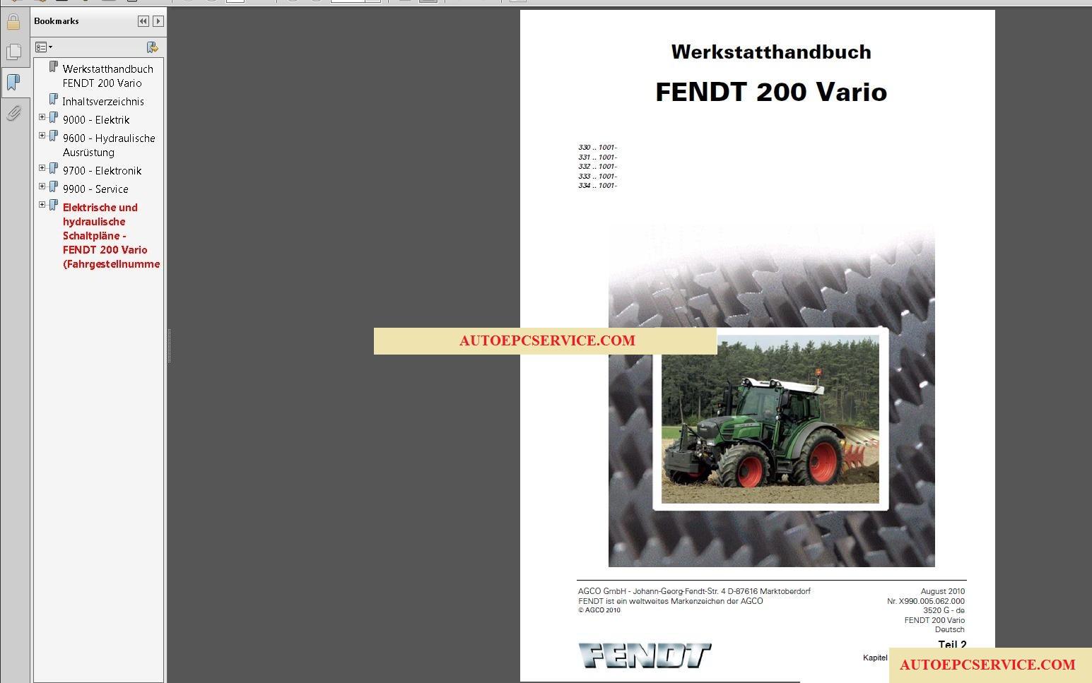 autoepcserviceheavyequipment: FENDT TRACTORS Operator Maintenance