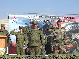 Brig Sukrit Chadah and Maj Gen Andrei Ivanovich Sichevoe, COS 5th Army reviewing the parade in Russia on 01 Oct