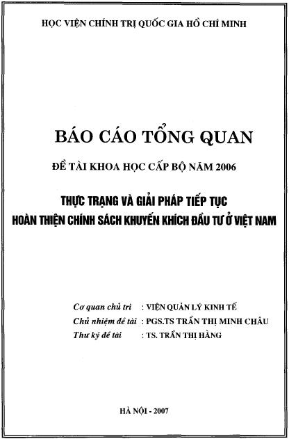 Thực trạng và giải pháp tiếp tục hoàn thiện chính sách khuyến khích đầu tư ở Việt Nam