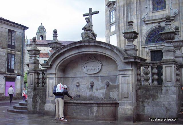 Fonte no Centro Histórico de Pontevedra, no Caminho de Santiago