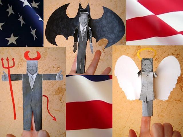 Origami presidenziali burattini da dita caricatura
