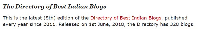 8th Edition of Directory of Best Indian Blogs by Indian Top Blogs