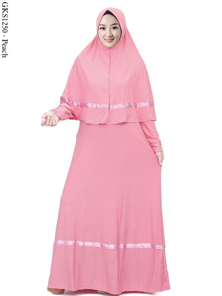 Gks1250 Gamis Syar 39 I Jumbo Set Jilbab Bahan Spandek Jersey