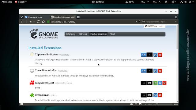 Gerenciando extensões do GNOME Shell através do Vivaldi no openSUSE Tumbleweed