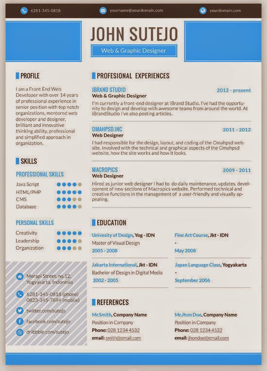 Octama Resume Template PSD Design