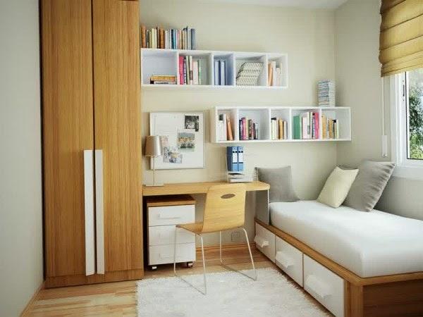Contoh desain kamar tidur sempit yang rapih dan nyaman